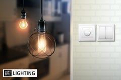 Dachboden-Art-Lampen-und Schalter-Plakat stock abbildung