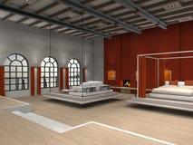 Dachboden mit beweglichem Schlafzimmer- und Wohnzimmerbereich Lizenzfreies Stockbild