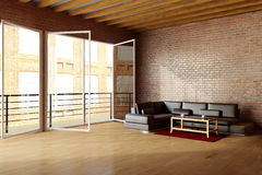 Dachboden mit brickwall und Schwarzem Lizenzfreies Stockfoto