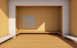 Dachboden und moderner Raum mit weißer und hölzerner wall-/3dwiedergabe Stockbild