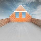 Dachbodenhaus im Bau mit Himmelaufflackern lizenzfreie abbildung