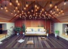 Dachbodeninnenraum Stockbild