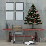 Dachbodeninnenraum des neuen Jahres, Weihnachtsbaum, 3D überträgt Stockfotos