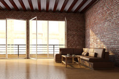 Dachbodeninnenraum mit Backsteinmauer Stockbild