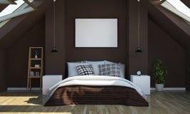 Dachbodenschlafzimmer mit Plakatmodell lizenzfreie stockfotografie