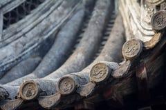 Dachdetail über chinesischen Tempel Stockbild