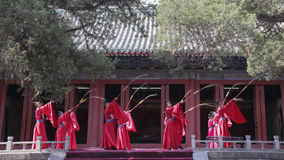 Dacheng Rites-Music Performance at Temple of Confucius in Beijing, China. It intends to enlighten people and convey the artistic purpose of cultivating people Stock Photo