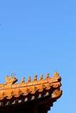 Dachgesims der Peking verbotenen Stadt Stockbild