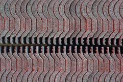 Dachhintergrund roter Fliesen Abtract Stockfotografie