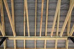 Dachowa kontrahent naprawa Drewniana dachowa budowa dom Moscow budynku miasta Obraz Stock