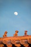 Dachowe figurki przy Niedozwolonym miastem, Pekin Obrazy Royalty Free