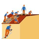Dachowy pracownik budowlany naprawy dom, budowy struktury naprawiania dachu płytki dom z pracowniczym wyposażeniem, dacharzów męż Obraz Royalty Free