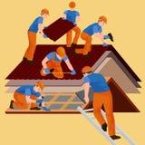 Dachowy pracownik budowlany naprawy dom, budowy struktury naprawiania dachu płytki dom z pracowniczym wyposażeniem, dacharzów męż ilustracji