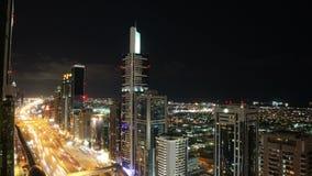 Dachowy widoku czasu upływ na głównej ulicie w Dubai zdjęcie wideo
