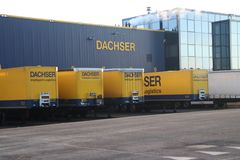 Dachser distribution center for cargo and storage at Doelwijk in waddinxveen the Netherlands. Dachser distribution center for cargo and storage at Doelwijk in stock photography