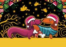 Dachshund de la Navidad. Tarjeta de felicitación stock de ilustración