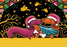 Dachshund de Noël. Carte de voeux Photos libres de droits