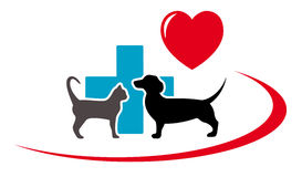 Dachshund dog and cat on veterinary icon Royalty Free Stock Photo