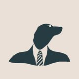Dachshund dog dressed up in black suit. Royalty Free Stock Photo