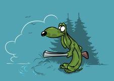 Dachshund dog hunter on ducks cartoon Stock Images