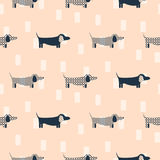 Dachshund dog scandinavian seamless vector peach colored pattern. Stock Photography