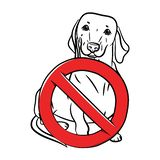 A dachshund dog is sitting standing and a sign of prohibition in the outline style. Stop the dog. White background. Stock vecktor vector illustration