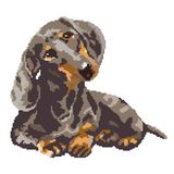 Dachshund dog spotted painted in squares, pixels. Vector illustration. Dachshund dog spotted painted in squares, pixels royalty free stock photo