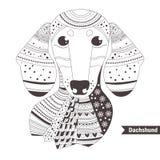 dachshund Livro para colorir para Fotografia de Stock Royalty Free