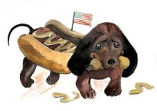 Dachshund with mustard. Dachshund in the form of hot dog,illustration for the national day of hot dog,picture comic reflects the similarity of a dog with sausage vector illustration