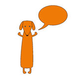 Dachshund with speech bubble Royalty Free Stock Photos