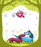 Dachshunds love royalty free illustration