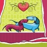 Dachshunds love - Valentine card Stock Image