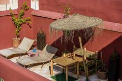 Dachspitze in Marrakesch, Marokko Lizenzfreies Stockfoto