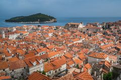 Dachspitzen alter Stadt Dubrovniks stockfotografie