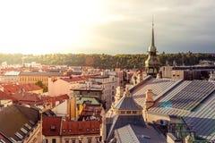 Dachspitzen von altem Prag Tschechische Republik Stockfoto