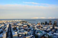 Dachspitzen von Reykjavik Stockfotos