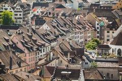 Dachspitzen von Schaffhausen eine Stadt in der Schweiz Stockfotografie