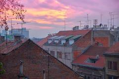 Dachspitzen Zagreb lizenzfreie stockfotos