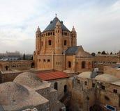 Dachspitzenansicht vom Mount Zion und von Hagia Maria Sion Dormition Abbey, Stockbild