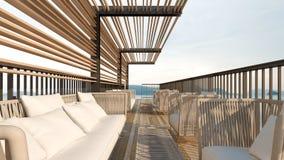 Dachspitzenseeansicht mit Sofa Wiedergabe einstellt/3D Lizenzfreie Stockfotos