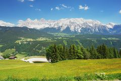 Dachstein, Austria. Panoramic view of the Dachstein Mountains, Austrian Alps Royalty Free Stock Images