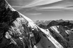 Dachstein BW. Dachstein is a strongly karstic Austrian mountain, and the second highest mountain in the Northern Limestone Alps. It is situated at the border of stock image