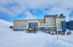 Dachstein Krippenstein station of cable car, Obertraun, Austria. OBERTRAUN, AUSTRIA - FEBRUARY 21, 2019: The station of Dachstein Krippenstein cable car with stock photo