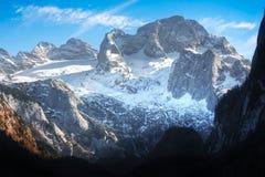 Dachstein mountain in the Austrian Alps. Beautiful view of Dachstein in the Austrian Alps in Salzkammergut, Upper Austria, Austria royalty free stock images
