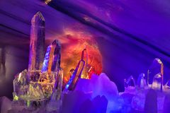 Exposition colorful ice sculptures at top of Austrian Dachstein Mountains royalty free stock images