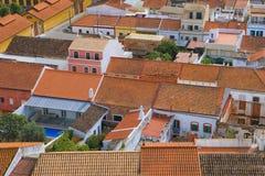 Dachu widok w Silves, Portugalia Zdjęcie Stock
