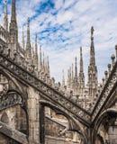 Dachów tarasy Mediolańska katedra, Lombardia, Włochy Zdjęcia Royalty Free