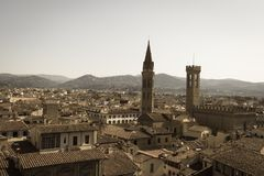 Dachy Florencja od Palazzo Vecchio w słonecznym dniu, Tuscany, Włochy Starzejący się fotografia skutek Obraz Royalty Free