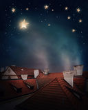 Dachy i nocne niebo Zdjęcie Royalty Free