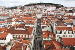 Dachy, Piękny widok, miasto Lisbon, Portugalia Obraz Stock